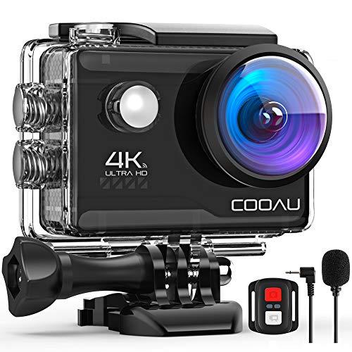 COOAU 4K Action Cam 20MP WiFi Sports Kamera Unterwasserkamera 40m mit Externs Mikrofon Fernbedienung Helmkamera Wasserdicht Digitale Videokamera mit EIS Stabilisierung (3)