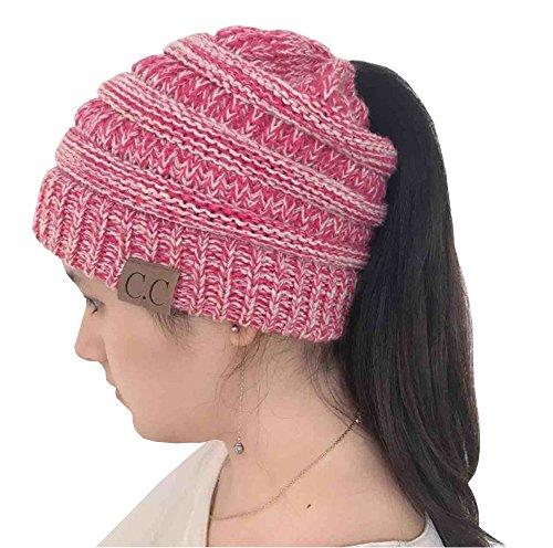 Aoweite Damen Mädchen Winter Strickmütze Gestrickt Verdicken Hut Mit Zöpfen Loch Loop Warme Winter Mütze Beanie Cap (Rose + Weiß) Warmen Zopf-hüte Für Frauen