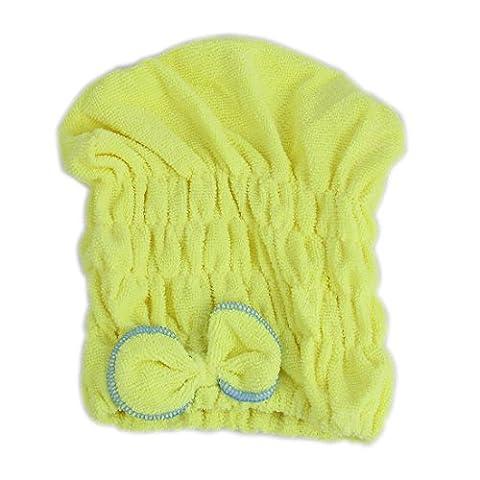 Lady Gym Schwimmen Dusche elastischen Haar-Dry Cap Turban Handtuch Gelb