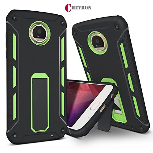 Chevron Motorola Moto Z2 Play Back Cover Case, ChevPassion™ Hybrid Armor Design Kick Stand-up Feature Dual Layer Protective Shell Hard Back Cover Case Motorola Moto Z2 Play -Mint Green