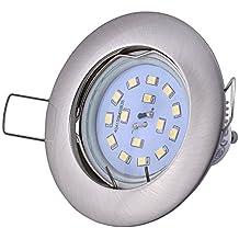 5W–Foco para empotrar (12V AC/DC GU5,3–4,5W 380Lumen 3000Kelvin LED blanco cálido ángulo de haz de 120°–GU5,3Capacidad Incluye–Bombilla intercambiables