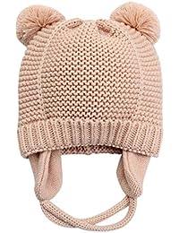 c70097032b22 Langzhen Bébé Bonnet Hiver Chaud en Coton Tricoté Beanie Chapeau Earflap  Protection Oreille Bonnet de Ski