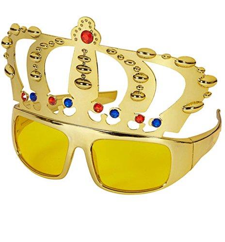 1x Partybrille * KÖNIG * für Karneval, Geburtstag oder Motto-Party // mit goldener (Krone Ein Queen)