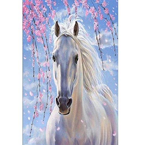 Plum Weißes Pferd 5D Stickerei Gemälde Strass eingefügt DIY Diamant Malerei Kreuzsti