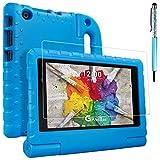 """Funda protectora para LG G Pad X 8 """"con protector de pantalla y lápiz óptico, AFUNTA Funda de mango convertible EVA, cubierta de plástico PET y lápiz táctil para tableta 8 pulgadas V-520 / V-521 – Azul"""