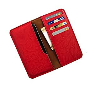 i-KitPit : PU Leather Wallet Flip Pouch Case For Karbonn A52 (RED)