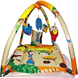 CHOTE USTAD Baby Bedding Set With Mosquito Net And Play Gym With Hanging Toys (Yellow)