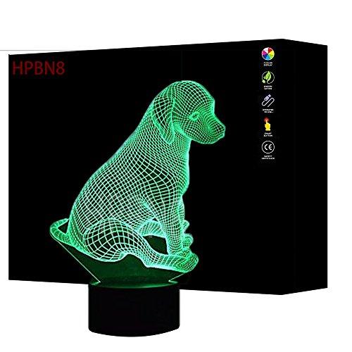 3D Chien LED Lampe Art Déco Lampe lumières LED Décoration Maison Enfants Meilleur cadeau Lumière Touch Control 7 couleurs Change USB Lampes Bureau Powered【7 à 15 jours d'arriver en France】