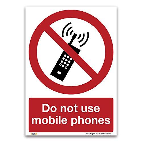 3 Signs Verwenden Sie nicht Handys-1mm starrer Kunststoff Schild-Verbot Sicherheit Informationen, 1 mm, harter Kunststoff, A5 210x148mm