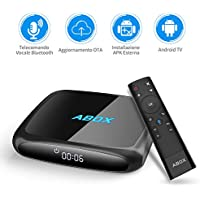 TV BOX Android 7.1 con Telecomando Vocale Innovativo, 2018 Ultimo Modello Goobang Doo ABOX A4, WiFi / Bluetooth 4.0 / 2GB RAM 16GB ROM / Quad Core A53 Processore 64 Bits