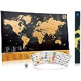 """Carte du monde à gratter """"Scratch Wanderlust Map"""" - Pièce de Monnaie Incluse Pour Faciliter le Grattage – 229 autocollants sympas pour personnaliser votre mappemonde – Partager vos aventures!"""