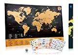 Perfect Map to Scratch - Scratch Wanderlust Poster Map Deluxe - Use Our Coin to Easily Scratch - Map Includes 229 Cute Travel Stickers - Share Your Travel Stories