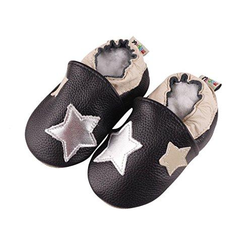 FREE FISHER Unisex Scarpe Casuali Sandali per Bambino/Bambina in Pelle Morbida Imparare a Camminare stelle argento
