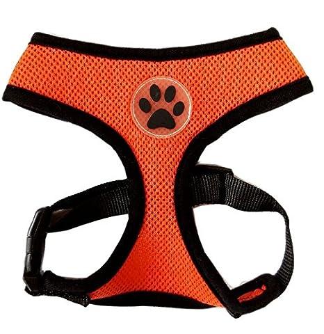 PUPTECK Soft Mesh Adjustable Pet Walking Harness for Dogs Orange Medium