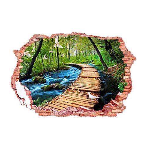 Lianle Pegatina Decorativa de Pared, de Pared Rota y Paisaje de 3D, Aplicable para todas superficies lisas. Es Impermeable, Desmontable y de Uso repetido, ideal para Cuarto de Estar, Salón y Oficina