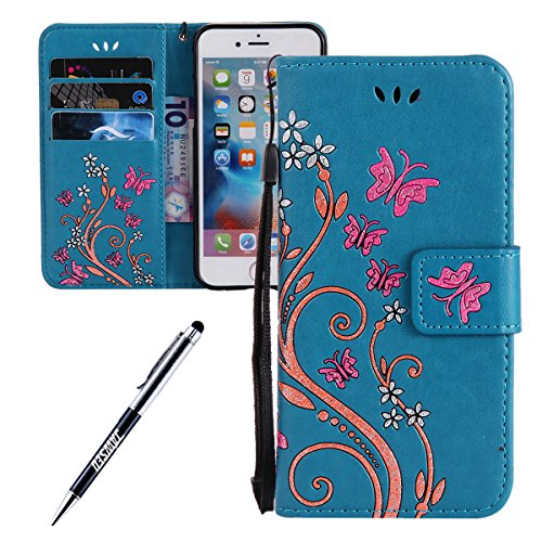 iPhone 6S Plus Étui,JAWSEU iPhone 6 Plus/6S Plus 5.5 Coque en Cuir Portefeuille Housse Luxe Mode Wallet Pu Case iPhone 6 Plus Etui à Rabat Magnétique Housse Etui de Protection Folio Bookstyle Case élé bleu