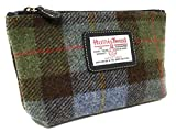 Harris Tweed Blue Tartan Cosmetic Bag by Harris Tweed
