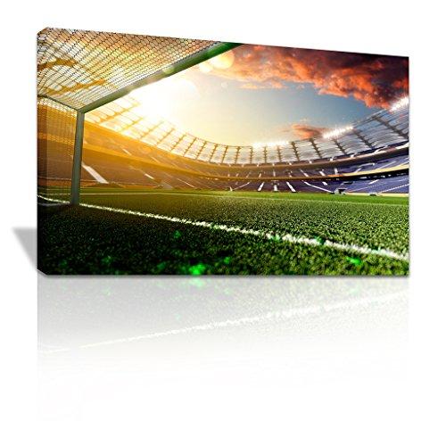 Fußball Stadion aus der Ziel Line Leinwand Print X-Mas Geschenk-C053, Kiefer, 56