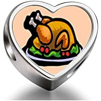 Rarelove Sterling Silver Thanksgiving roasted turkey on platter Heart Photo