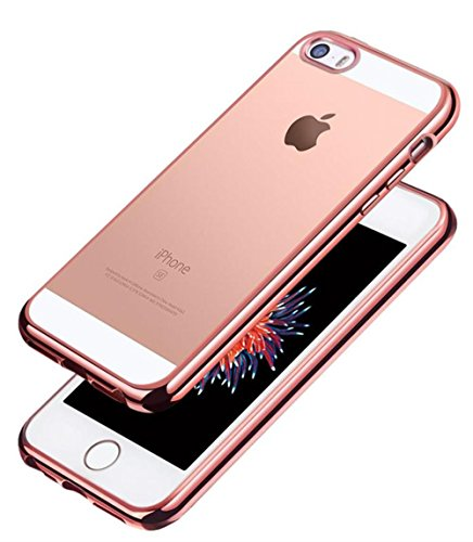 iPhone SE Hülle, Aostar iPhone 5S/5/SE Case Cover Ultra Dünn Weicher Flexibel Klar Transparent Gel TPU Silikon Schutzhülle Stoßfest Durchsichtig Handyhülle Tasche für iPhone SE/5S/5 (Rose Gold)