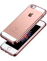iPhone SE Hülle, Aostar iPhone 5S/5/SE Case Cover Ultra Dünn Weicher Flexibel Klar Transparent Gel TPU Silikon Schutzhülle Stoßfest Durchsichtig Handyhülle Tasche für iPhone SE/5S/5 (Rose Gold)