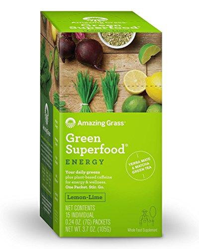 Amazing Grass, Green SuperFood, Energy Lemon Lime Drink Powder, 15 Individual Packets, 7 g Each - Guayaki Yerba Mate