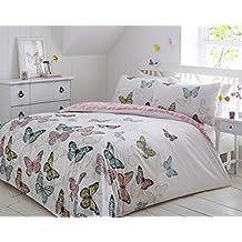 Pieridae nuevas mariposas Juego de cama funda nórdica de dormitorio Juego de ropa de cama (Tamaño Doble King Super King, 50% algodón/50% poliéster, Blanco, doble