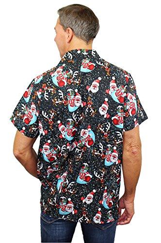 King Kameha | Funky Chemise Hawaïenne | Hommes | XS - 6XL | Manche-Courte | Poche-Avant | Hawaiian-Imprimer | Flocon de Neige | Noir Noir