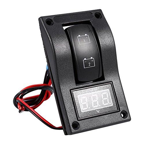 Keenso 12V DC Batterie Test Panel Wippschalter Panel LED Hintergrundbeleuchtung Wippschalter Voltmeter -