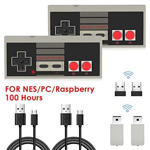 2 Stücke NES Wireless Controller für Nintendo Classic Mini, AGPTEK 2.4G Wireless Game Controller für NES und PC für NES Classic Gaming System Console, kompatibal mit Nintendo Entertainment System - Mario 2 Super Nes 3 1