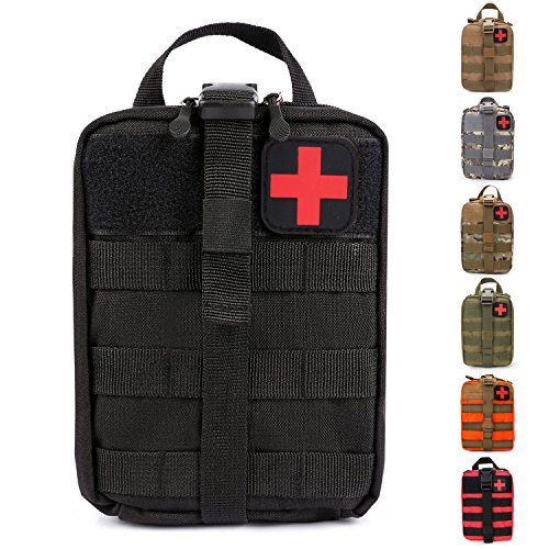 HX OUTDOORS Tactical Molle Rip-Away EMT Medical First Aid IFAK Lifesaving Pouch,Outdoor Medical Package,Mountaineering/Climbing Rescue Tools Package Made of 600D Waterproof Fabric (Black) - Molle Pouch Medical