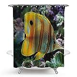 SonMo Duschvorhang Tropischer Fisch Meeresfisch Polyester Stil 5 Wasserdicht Anti-Bakteriell Anti-Schimmelbadezimmer Vorhänge mit Duschvorhangringen 180×180CM