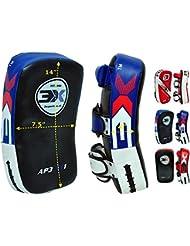 Almohadillas protectoras antigolpeo para brazos para Muay Thai, Kick Boxing, MMA, UFC, artes marciales, hockey, rugby, etc, Unisex, rojo