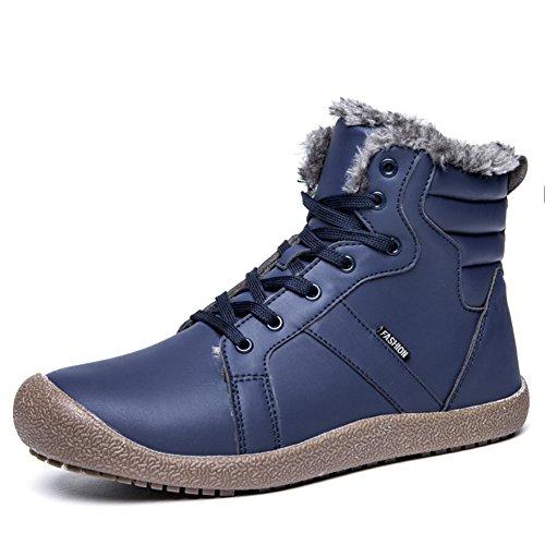 f5edc0651b77d ukStore Homme Femme Bottes De Neige Fourrées Impermeables Bottines Cuir Hiver  Chaussures Chaudes Lacets Plates Cheville