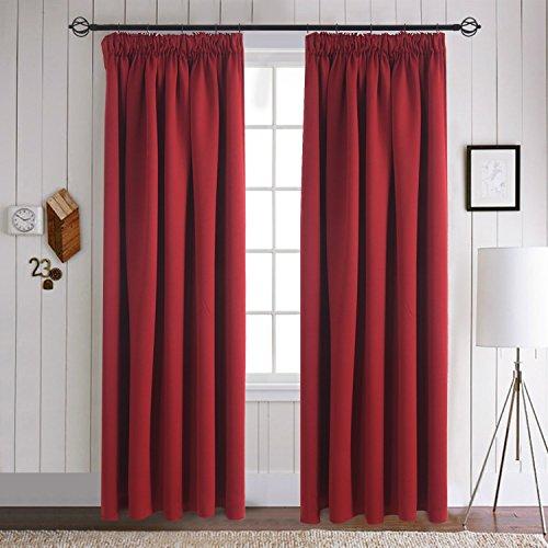 Noah's linen arca di lino con pieghe nastro top tende oscuranti con rivestimento termico pronte fermatenda 116,8cm (larghezza) x 137,2cm (drop) colore rosso