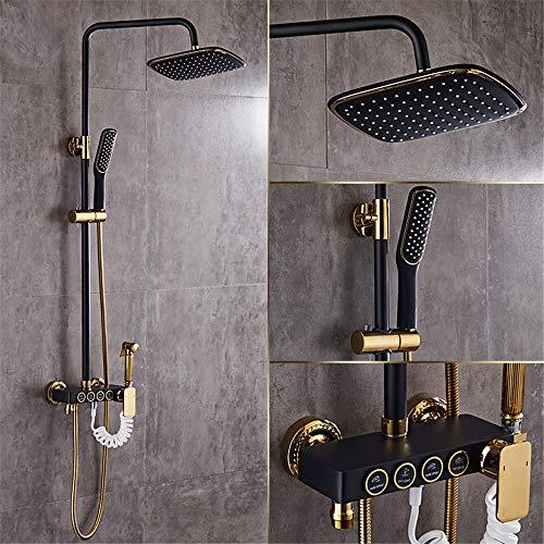 Hlluya Wasserhahn für Waschbecken Küche Die Kupfer Schwarz Dusche kit Full Messinghähne Badezimmer Regendusche Sprinkler Retro Dusche