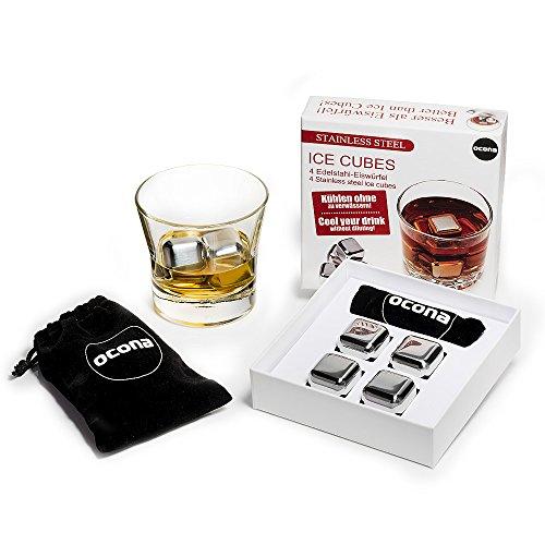 ocona© Whisky Steine Ice Cubes ? 4 Wiederverwendbare Edelstahl Eiswürfel + Stoffbeutel | 4er Set Whiskey Rocks Stones Geschenk Set