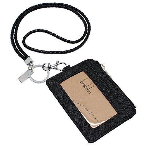 boshiho Saffiano-Leder Badge Holder ID Kartenhalter mit Kleingeld Geldbörse 4.3 x 3.3 x 0.2 inch Black with Keychain (Badge Geldbörse Geld-clip)