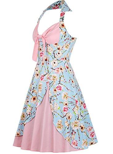 MERRYA Rétro À fleurs Robe de Soirée Cocktail Fête Vintage 1950s Audrey Hepburn Mode Halter Rose