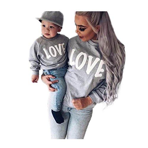 Koly Familia mamá y yo bebé Camiseta de manga larga Blusa Tops T-Shirt Ropa de la ropa de la familia (L, Blanco)
