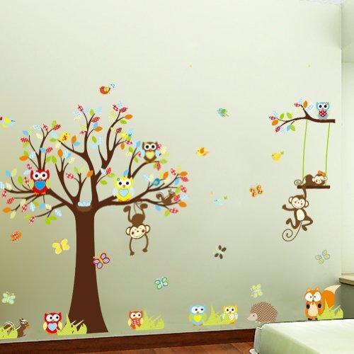 colorful-the-squirrel-owl-monkeys-playing-on-the-tree-wall-vinly-decal-decor-sticker-removable-wall-