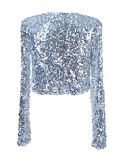 PrettyGuide Damen Pailletten Jacke Kurze Disco Tanz Langarm Bolero Clubwear Party Tops Silber