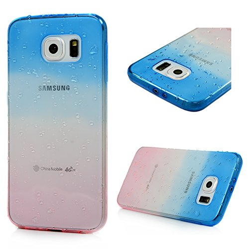 Custodia per Samsung Galaxy S6 Cover Bumper TPU Case - YOKIRIN Morbido Dipinto Protettiva goccia Portafoglio Protettivo Copertura - Blue + Rosa