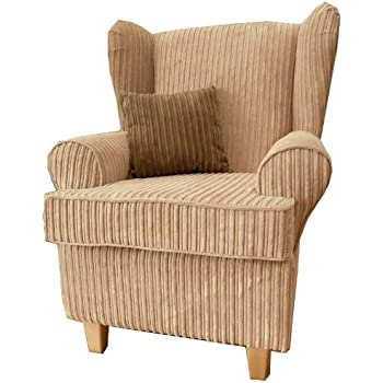 Beige Jumbo Cord Queen Anne Design Wing Back Fireside High Back Chair.  Ideal Bedroom Or Living Room Furniture Part 47