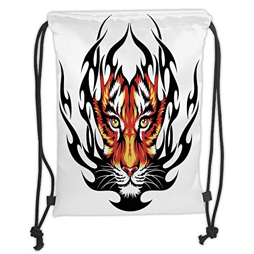 Drawstring Sack Backpacks Bags,Tattoo Decor,Jungles Prince Tigers Head in Black Flames Frame Looking with Cat Eyes,Black and Orange Soft Satin,5 Liter Capacity,Adjustable String Closure (Tattoo Cat Halloween Black)