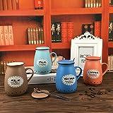TIANLIANG04 Tazas Tazas de café Taza De Cerámica Con La Marca De La Tapa De La Copa _ Bone China Amantes De La Taza De Café Taza De 4 Colores Mezclados, 401-500Ml