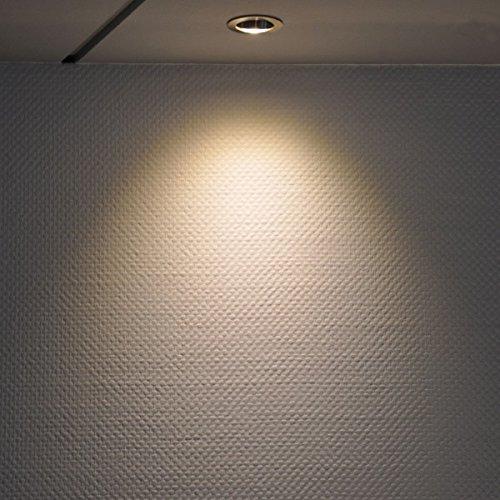 3er IP44 LED Einbaustrahler Set Silber gebürstet mit LED GU10 Markenstrahler von LEDANDO – 7W – warmweiss – 30° Abstrahlwinkel – Feuchtraum / Badezimmer – 50W Ersatz – A+ – LED Spot 7 Watt – Einbauleuchte rund - 3