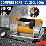 Compressore Aria Portatile 12V 200L/Min 300W 4x4 manometro valvola sgonfiaggio