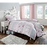Luxury Cotton Rich 200 Thread Count Percale Vintage Twin King Duvet Set in Pastel Pink
