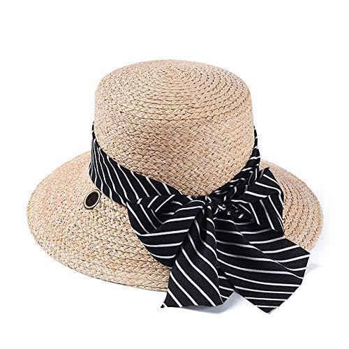 b0e6f8f935dce LLPBEAU-hat Chapeau de Soleil pour Dames Summer Lafite Straw Hat Strap  Striped Top Top